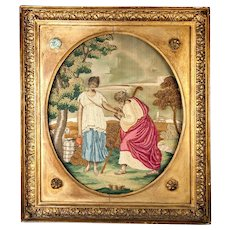 Fine Antique 1700s English Silk Work Embroidery Tapestry, Sampler in Frame, Woman at the Well