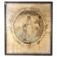 Superb Antique Georgian English Silk Work Embroidery Tapestry in frame, Tomb, Symbolism