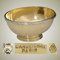 "Antique French Vermeil 18k Gold on Sterling Silver 4.5"" Bonbon or Caviar Dish, Cardeilhac"