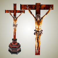 "RARE Antique French Crucifix 1700s Hand Carved Christ on Altar Cross, 28.5"" tall. Figure is 11"" Tall"
