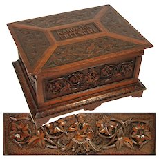 LG Antique Victorian Era Hand Carved Jewelry, Sewing Box, Chest, Ornate Figural & Dated 1873