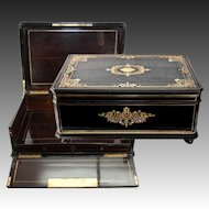"HUGE c.1830 Antique French Boulle Chest, Box, 24"" x 17"" Cashmere or Trousseau"