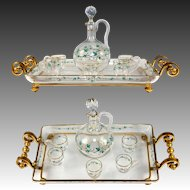 Fine Antique French Baccarat Liqueur Service, Decanter, Cups, Tray - Dore Bronze