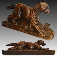 "Superb Antique Hand Carved Black Forest Style 16"" Figural Cornice, Architectural Accent: a Dog"