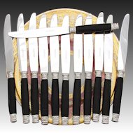 Gorgeous Antique to Vintage French 12pc Dinner Knife Set, Ebony & Sterling Silver Handles, Stainless Steel Blades