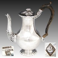 ODIOT: Antique French Sterling Silver Solitaire Coffee or Tea Pot, Teapot