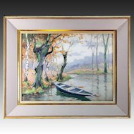 Vintage Watercolor Painting in Frame, Serenity - Lake Pastoral with Boat