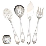 Antique French Sterling Silver 4pc Hors d'Oeuvre Implement Set, Empire Style Torch & Quiver