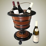 Big Antique Victorian Era Wooden Wine Cooler, Holds 3-4 Bottles
