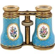 Large Antique French Kiln-Fired Enamel Opera Glasses, Celeste or Sevres Blue Floral, c.1870-1900