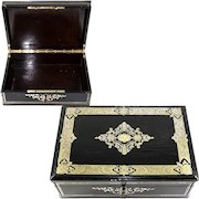"""Antique French 13.5"""" Table or Jewelry Box, Casket, Boulle Inlays, Napoleon III, Victorian Era"""