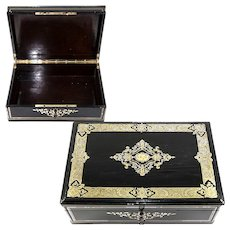 "Antique French 13.5"" Table or Jewelry Box, Casket, Boulle Inlays, Napoleon III, Victorian Era"