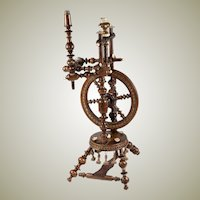 """Superb Antique Spinning Wheel, 12"""" Tall, For Doll House or Apprentice Made, L@@K!"""