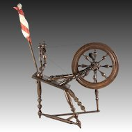 "Antique Doll House Sized Spinning Wheel, Turned Wood, For Bru or Similar Doll, 11"" tall + Stick"