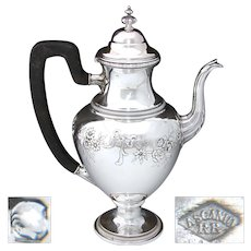 """Delightful Antique French Sterling Silver 8.75"""" Coffee or Tea Pot, Bow & Ribbon, Floral Swags"""