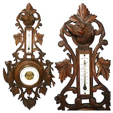 """Antique Black Forest Carved 27"""" Wall Barometer, Thermometer: Hunt Theme Dog, Boar & Bird"""