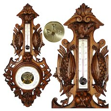 """Antique Victorian Era Black Forest Carved Walnut or Mahogany 29"""" Wall Barometer, Hunt Theme"""