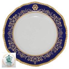 "Elegant Antique Coalport 10.25"" Dinner Plate, Cobalt & Gold Enamel Border, Monogram"