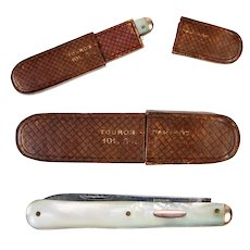 Antique French Mother of Pearl Handle Folding Knife, Vermeil .800 Silver & Steel Blades (2), Leather Case
