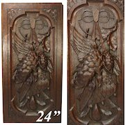"""Antique Victorian Era Black Forest Carved 24"""" Door or Furniture Panel, Wall Plaque with Hunt Theme"""