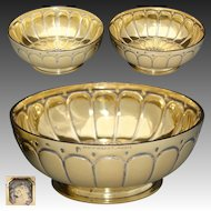 Gorgeous PAIR Antique French PUIFORCAT Vermeil 18k Gold on Sterling Silver Bowls, Caviar ?