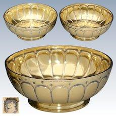 Gorgeous PAIR Antique French PUIFORCAT Vermeil 18k Gold on Sterling Silver Bowls, Caviar ?