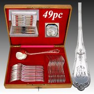 Antique French Sterling Silver 49pc Dinner Flatware Service, 12 Persons for Main Course, Plus Soup Ladle, in Oak Chest