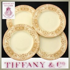 "Set of 4 Antique Royal Worcester 9.25"" Plates, Elegant Raised & Encrusted Gold Enamel, Tiffany & Co."