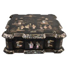 Large Antique Napoleon III French Chinoise Box, Casket, Mother of Pearl, Papier Mache
