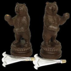 Antique to Vintage Black Forest Carved Epergne Stand PAIR, Delightful BEAR Figures, Blown Glass Vases