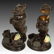 "Rare Antique Victorian Era Black Forest Carved 9 1/4"" Smoker's Stand, FOX Figure with 2-Tone Glass Eyes"