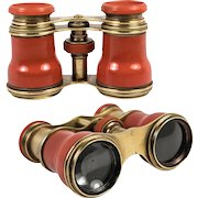 Superb 19th C. French Opera Glasses, Binoculars, in RARE Faux Red Coral