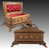"""Antique Hand Carved Black Forest Jewelry Box, Chest, Casket, Pheasants, 9.25"""""""