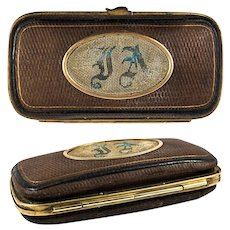 Fine Antique French Embroidered Cigar Case, Spectacles Etui, Gold Embossed Leather