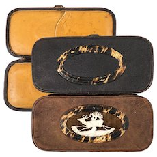 RARE Antique Cigar Case, Spectacles Case, Etui, Carved Stag Antler Set in Leather