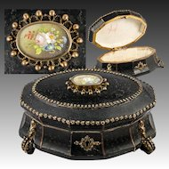Fabulous Antique French Chocolatier's Chocolates or Bonbon Box, Casket, Floral Painting Cartouche
