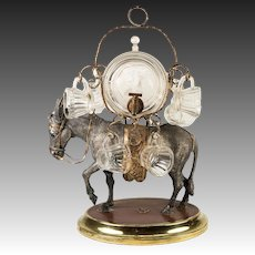Charming Antique French Napoleon III Liqueur Stand, Caddy, Tantalus: Mule w/ Gilt Pannier