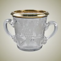 Vintage to Antique French Sterling Silver Vermeil Rim Engraved Wine Cooler