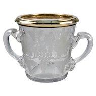 Vintage to Antique French Sterling Silver Vermeil Rim Engraved Wine Cooler