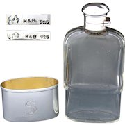 "Antique Continental Sterling Silver & Cut Crystal 5.5"" 4oz Liquor Flask, Shot Glass Base"