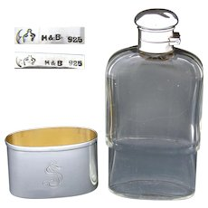 "Antique Continental Sterling Silver & Cut Crystal 5.5"" 4oz Liquor Flask, Shot Glass Base"