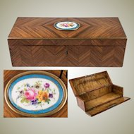 Antique French Kingwood Gloves, Desktop or Jewelry, Documents Box, Casket, Sevres Cartouche