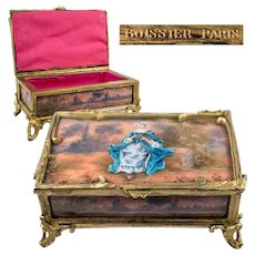 Rare Antique French Kiln-fired Enamel Jewelry box, Chocolatier's Signature: BOISSIER, PARIS