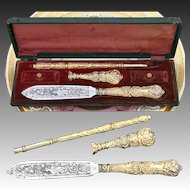 Rare Antique French 18k Gold on Silver Vermeil 3pc Writer's Set in Box: Seal, Pen & Letter Opener