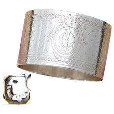 Antique French Sterling Silver Napkin Ring, Guilloche Style Decoration, CJ Monogram
