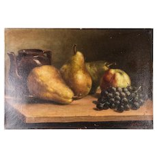 "Antique French Oil Painting, Superb Still Life with Fruit, Teapot, Canvas: 14"" x 9.5"""