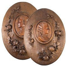 Pair: Hand Carved Wood Antique French Portrait Plaques, with Roses - Unique and Fine