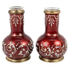 Antique French Kiln-fired Enamel Vase Pair (2) with Blown Glass Inserts, Red & Raised White Enamel