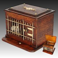 Delightful Antique Victorian Oak Cigar, Cheroot Presenter, Box: a Rabbit Hutch with Mechanical Opener