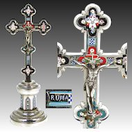"Antique Italian 8 1/8"" Micro Mosaic Altar Style Crucifix, Instruments of the Passion, ""Roma"""